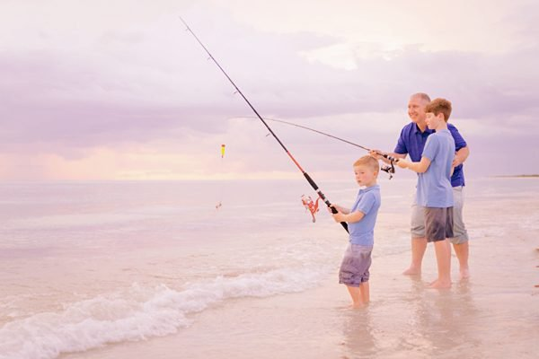 dad and sons fishing photo