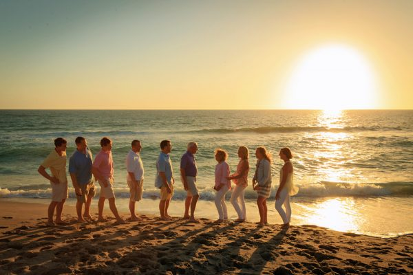 Shaffer family photo at sunset