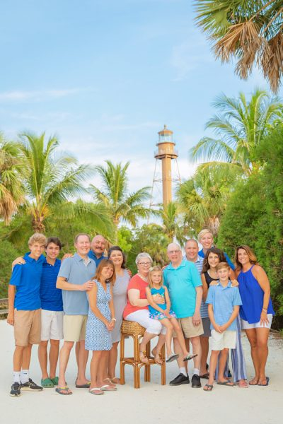 three generations photo at Sanibel Lighthouse