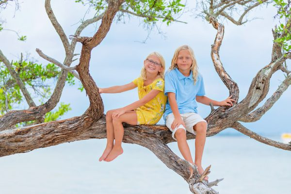 brother and sister photo at Sanibel Lighthouse beach