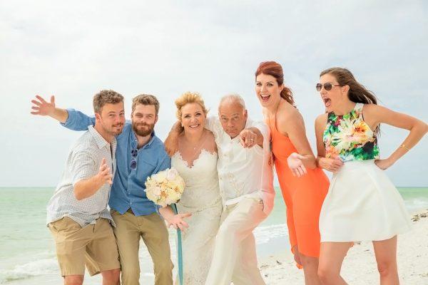 family at wedding on Sanibel Island