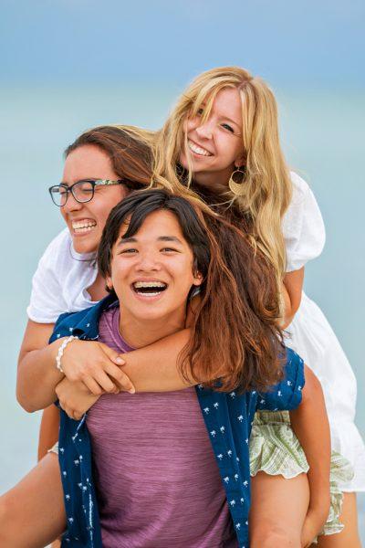 family photo on Sanibel beach